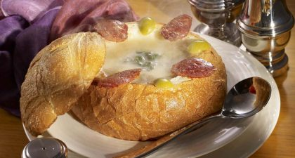 Round-The-Clock Coffee Shop: Classic Blend of Potato Puree, Spinach and Portuguese Sausage