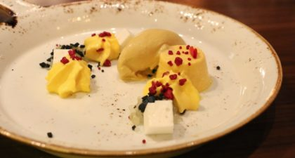 Shanghai Magic: Mango Coconut Milk Sago Pudding with Palm Sugar Ice Cream