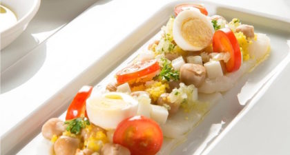 Fado: Marinated cod carpaccio with chickpeas, tomatoes and egg salad