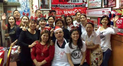 O Santos Comida: Owner and chef with family and staff